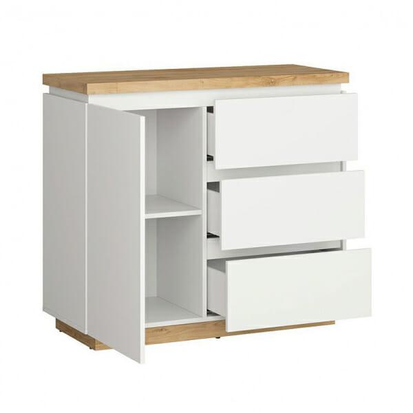 Шкаф с вратичка и 3 чекмеджета Ерла - разпределение