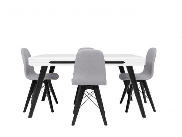 Сив трапезен стол Ацтека с маса отпред