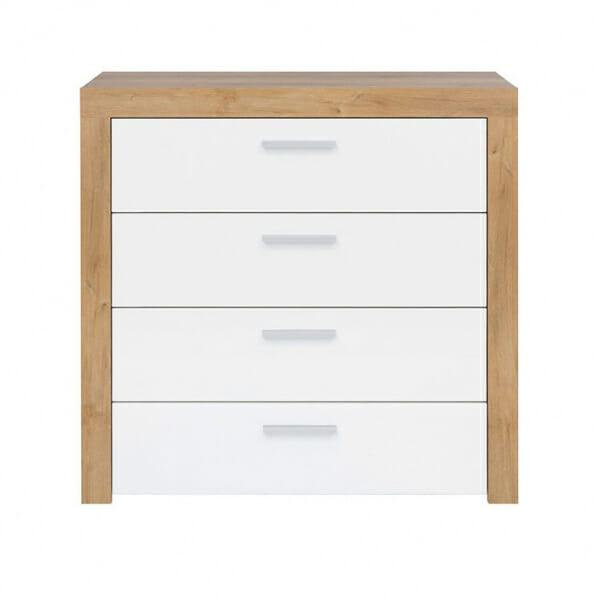 Скрин с 4 бели гланцирани чекмеджета Балдер- отпред