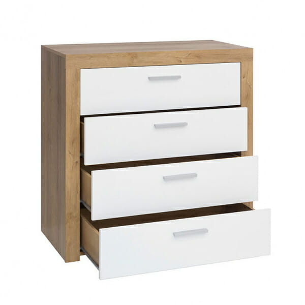 Скрин с 4 бели гланцирани чекмеджета Балдер- разпределение