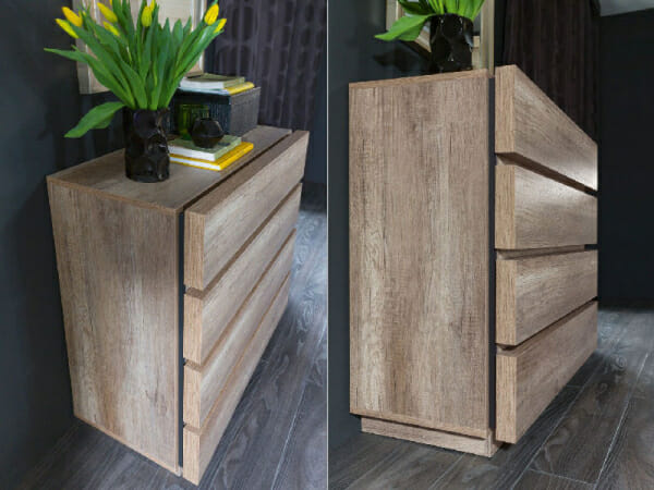 Скрин с 4 чекмеджета в дървесен цвят Антика - декор