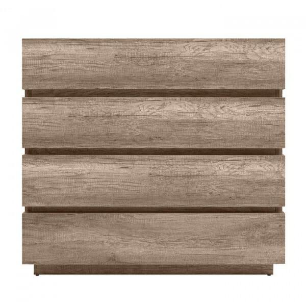 Скрин с 4 чекмеджета в дървесен цвят Антика - отпред