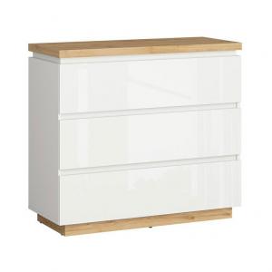 Скрин в бял гланц и дървесен цвят Ерла