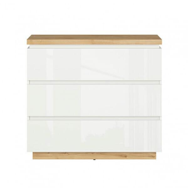 Скрин в бял гланц и дървесен цвят Ерла - отпред