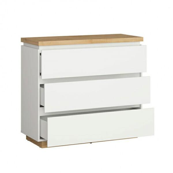 Скрин в бял гланц и дървесен цвят Ерла - разпределение