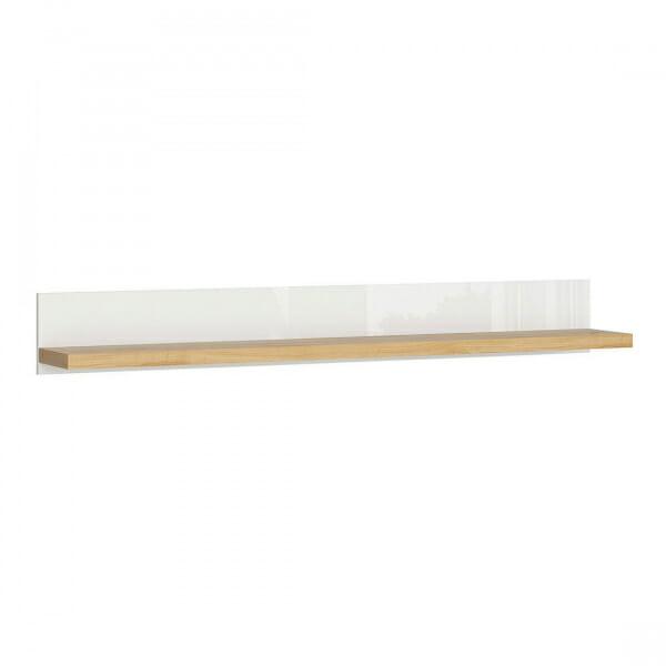 Стенен рафт в бяло и дървесен цвят Ерла