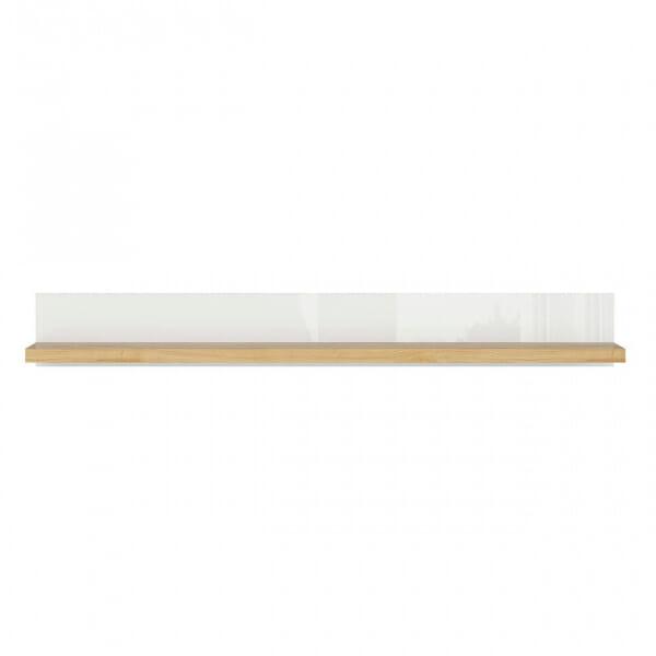 Стенен рафт в бяло и дървесен цвят Ерла - отпред