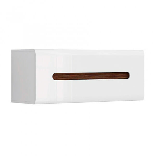 Стенен шкаф с декоративна лента - бяло с бял гланц
