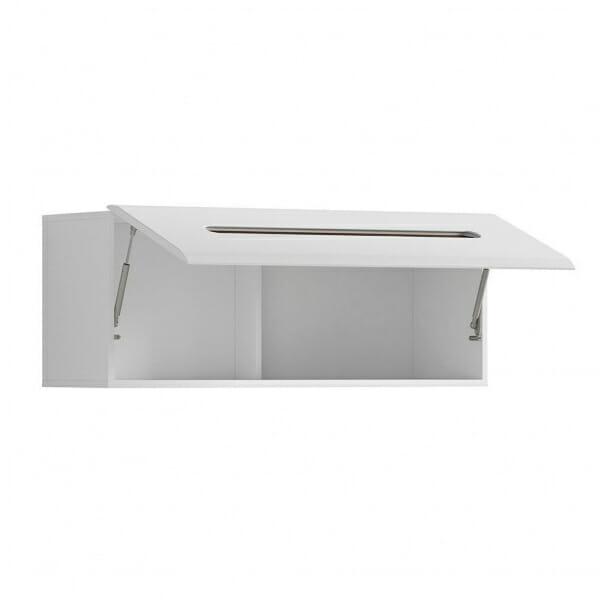 Стенен шкаф с декоративна лента - бяло с бял гланц - разпределение