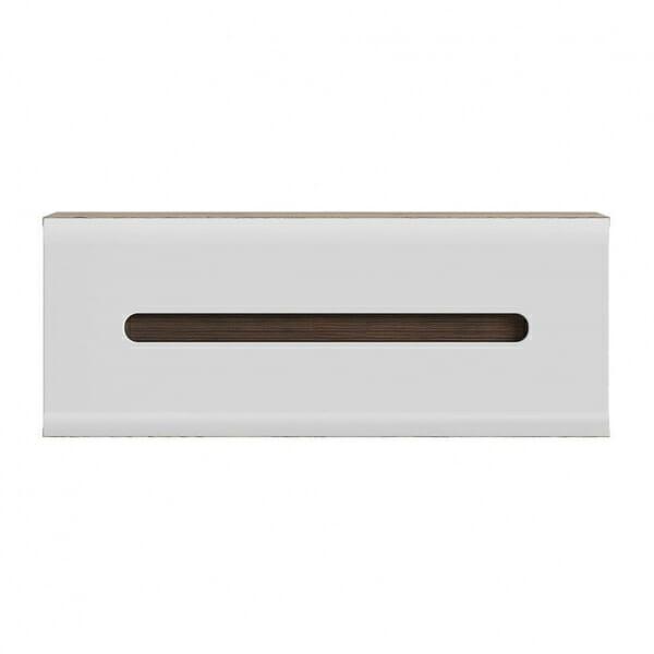 Стенен шкаф с декоративна лента - дъб сан ремо с бял гланц - отпред