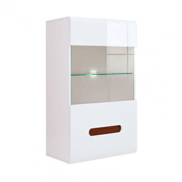 Стенен шкаф с витрина и осветление Ацтека - бяло с бял гланц