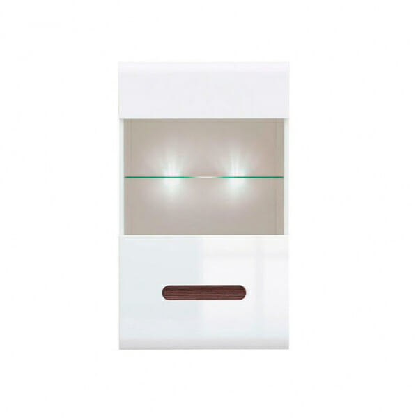 Стенен шкаф с витрина и осветление Ацтека - бяло с бял гланц - отпред