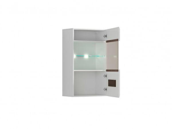 Стенен шкаф с витрина и осветление Ацтека - бяло с бял гланц - разпределение