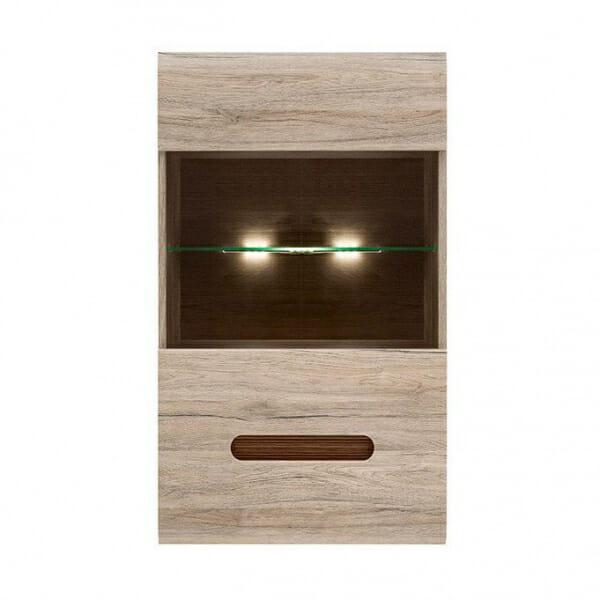 Стенен шкаф с витрина и осветление Ацтека - дъб сан ремо - отпред