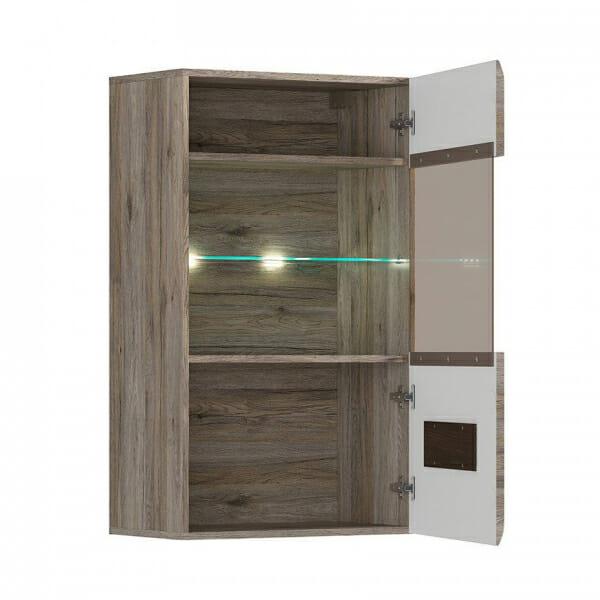 Стенен шкаф с витрина и осветление Ацтека - дъб сан ремо - разпределение