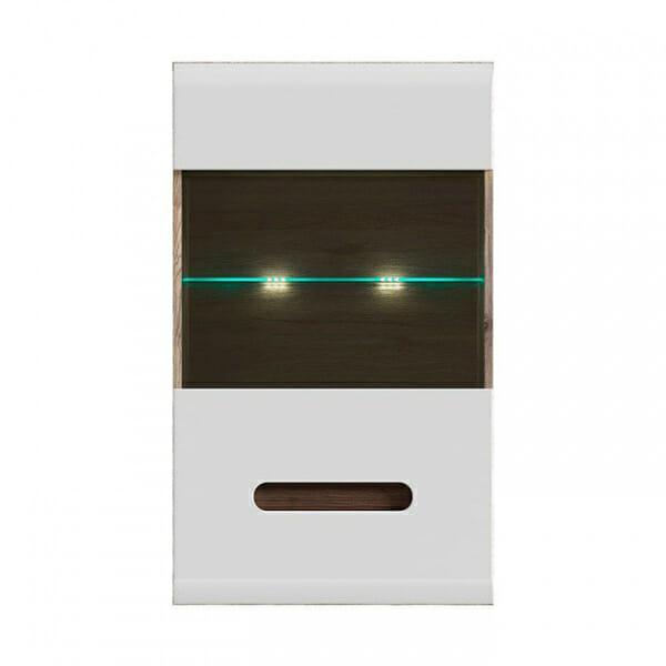 Стенен шкаф с витрина и осветление Ацтека - дъб сан ремо с бял гланц - отпред