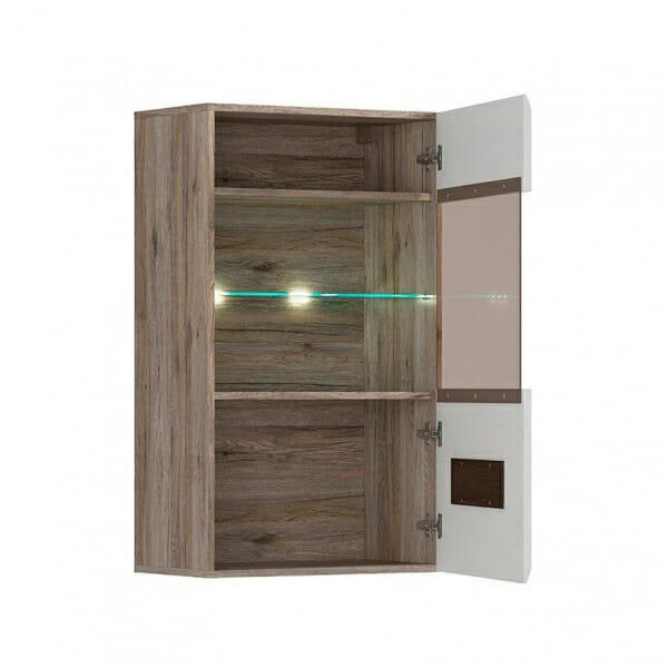 Стенен шкаф с витрина и осветление Ацтека - дъб сан ремо с бял гланц - разпределение