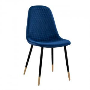 Трапезен стол с дамаска от кадифе и черни крака в синьо