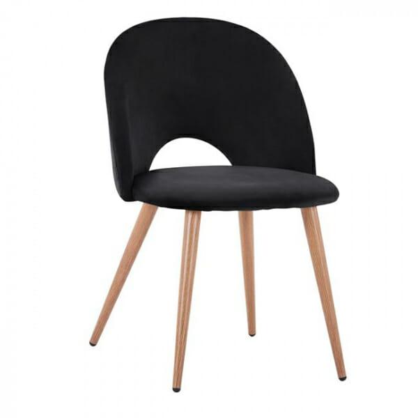 Трапезен стол с мека дамаска и метални крака-черно