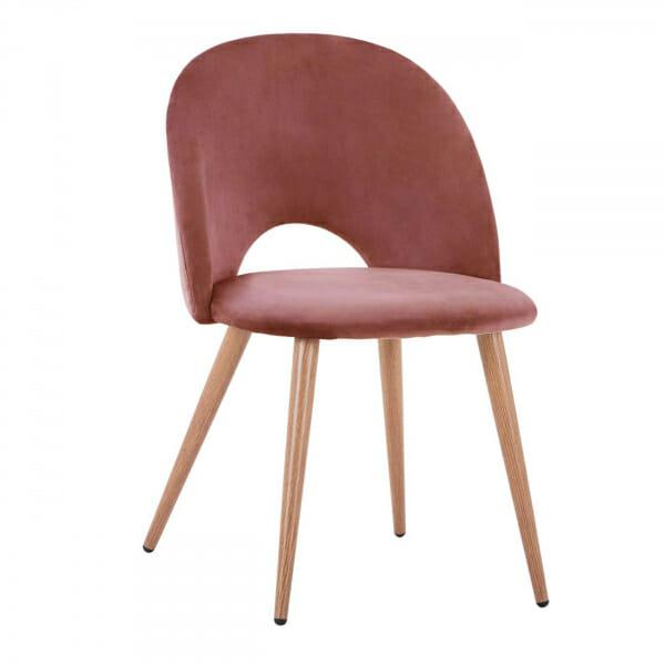 Трапезен стол с мека дамаска и метални крака-розов