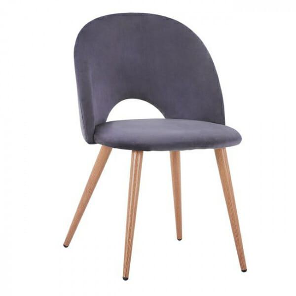 Трапезен стол с мека дамаска и метални крака-сив