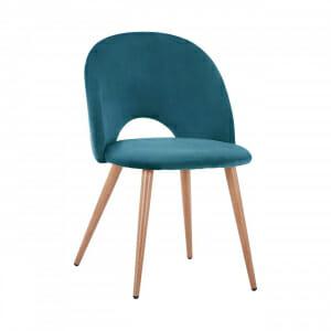 Трапезен стол с мека дамаска и метални крака-тюркоаз
