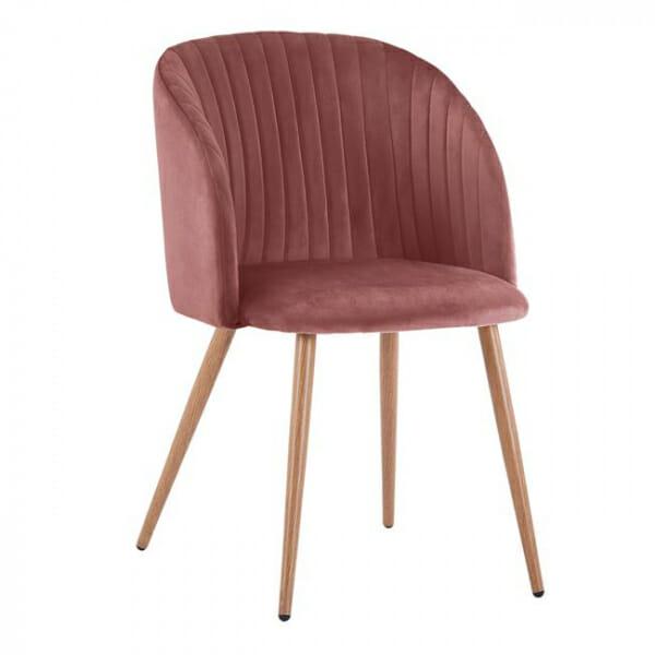 Трапезен стол с метални крака и извита облегалка-розов