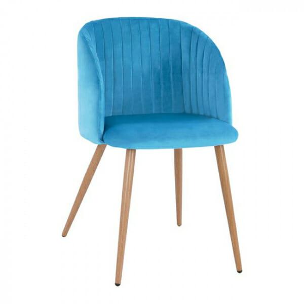 Трапезен стол с метални крака и извита облегалка-син