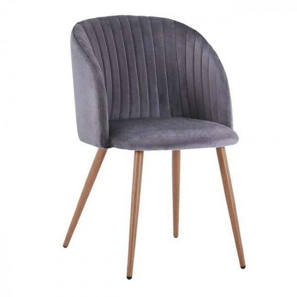 Трапезен стол с метални крака и извита облегалка-сив