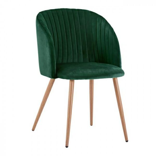 Трапезен стол с метални крака и извита облегалка