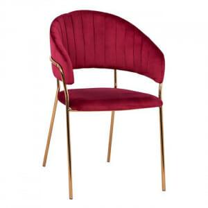 Трапезен стол с модерен дизайн в кадифе и метални крака в червено