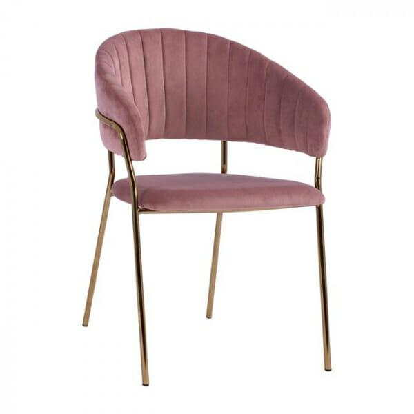 Трапезен стол с модерен дизайн в кадифе и метални крака в розово