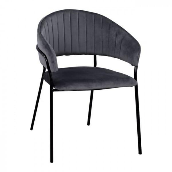 Трапезен стол с модерен дизайн в кадифе и метални крака в сиво