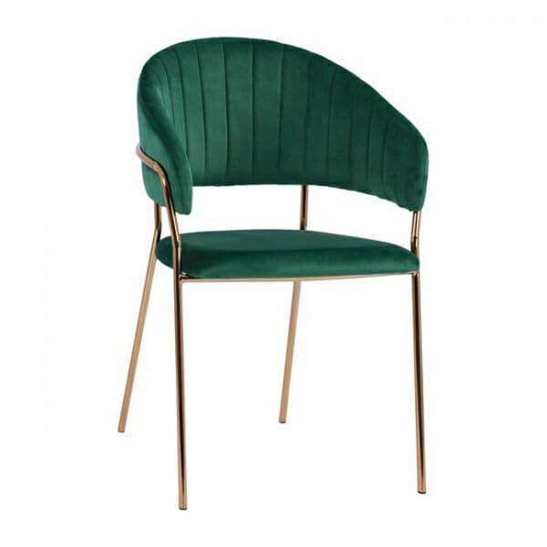 Трапезен стол с модерен дизайн в кадифе и метални крака в зелено