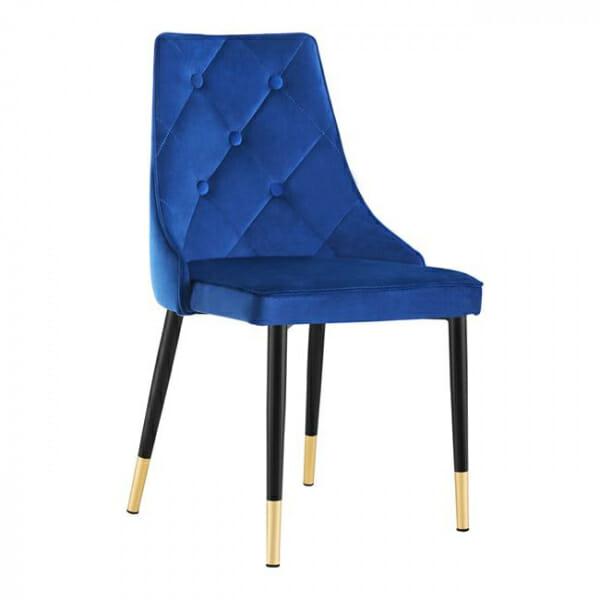 Трапезен стол в кадифе и метални крачета - син