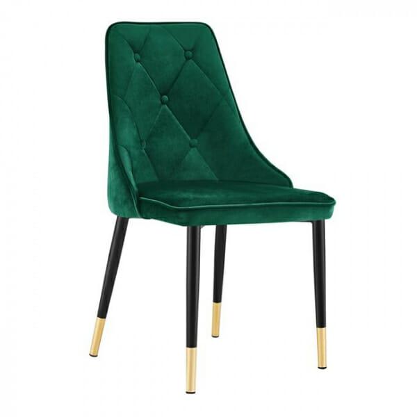 Трапезен стол в кадифе и метални крачета - зелен