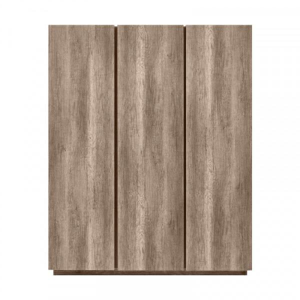 Трикрилен гардероб в дървесни тонове Антика - oтпред