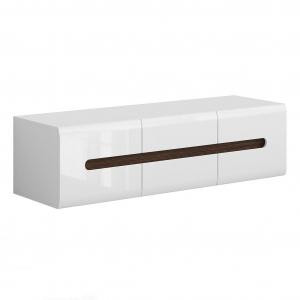 ТВ шкаф с 2 вратички и чекмеджета Ацтека - бял с бял гланц