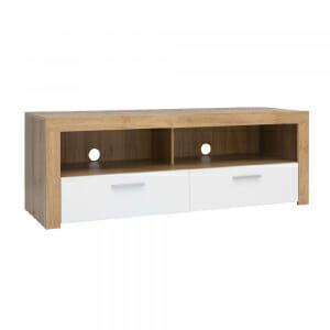 ТВ шкаф с бели гланцирани чекмеджета Балдер