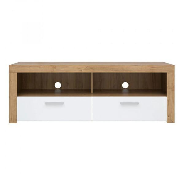 ТВ шкаф с бели гланцирани чекмеджета Балдер - отпред