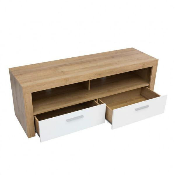 ТВ шкаф с бели гланцирани чекмеджета Балдер - разпределение