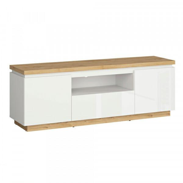 ТВ шкаф с бял гланц и дървесен цвят Ерла