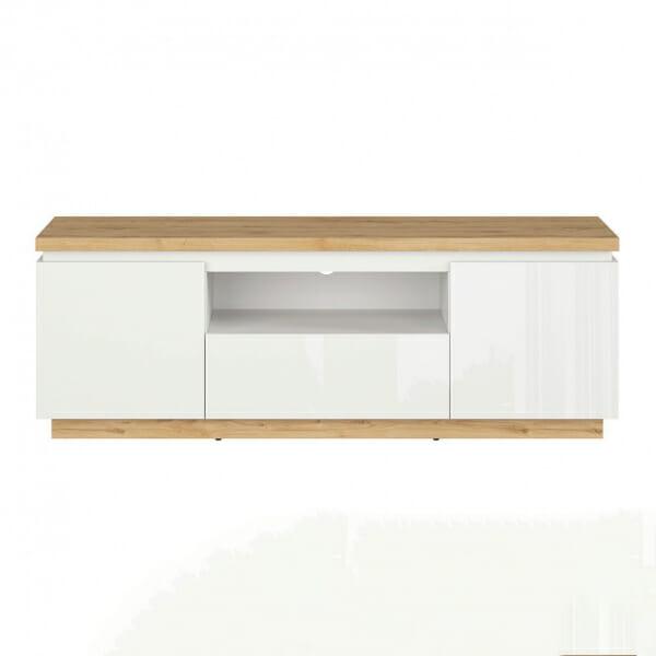 ТВ шкаф с бял гланц и дървесен цвят Ерла - отпред
