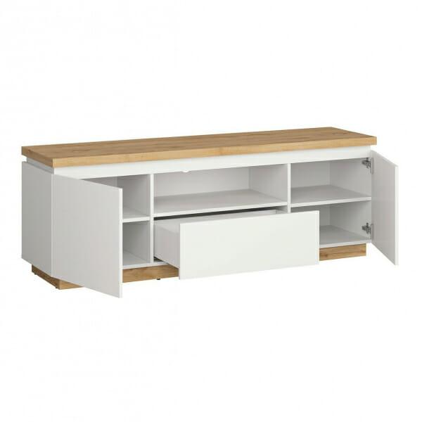 ТВ шкаф с бял гланц и дървесен цвят Ерла - разпределение