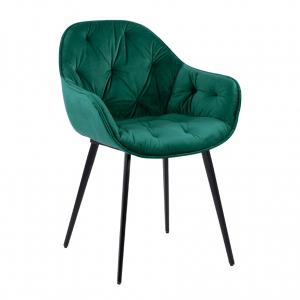 Удобен трапезен стол с подлакътници и метални крака-зелен