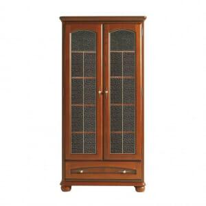 Висок шкаф с витрина и чекмедже от дърво Бавария