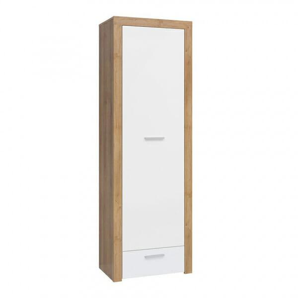 Висок шкаф в бяло и дървесен цвят Балдер