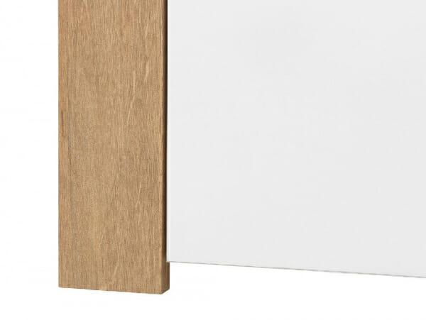 Висок шкаф в бяло и дървесен цвят Балдер - детайл