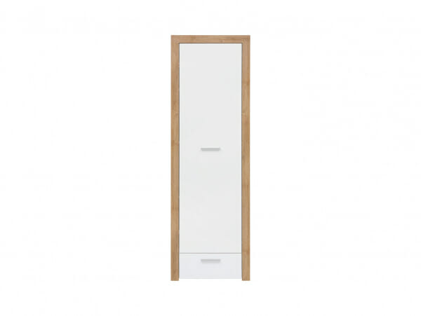 Висок шкаф в бяло и дървесен цвят Балдер - отпред