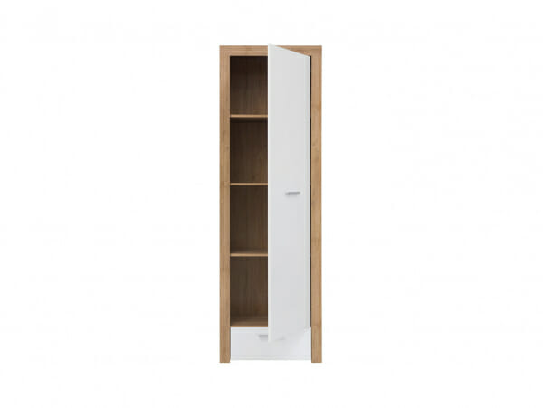 Висок шкаф в бяло и дървесен цвят Балдер - разпределение